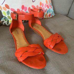 Nine West Red Orange Strappy Braided Sandal, Sz 10